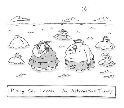 Vanity Drawing - Rising Sea Levels - An Alternative Theory by Kim Warp