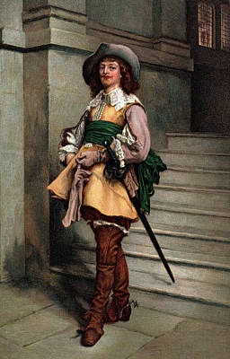 Looking At Camera Painting - 1600s Cavalier Wearing Fashion Of Times by Vintage Images