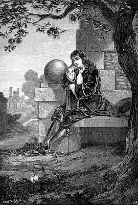 Isaac Newton Painting - 1600s Engraving Of Sir Isaac Newton by Vintage Images