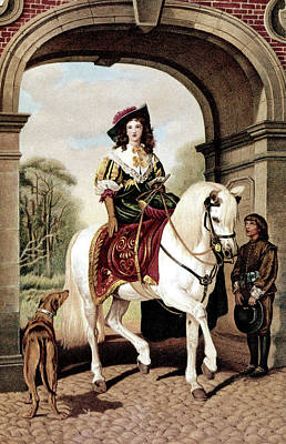 1600s Woman Riding Sidesaddle Painting Art Print