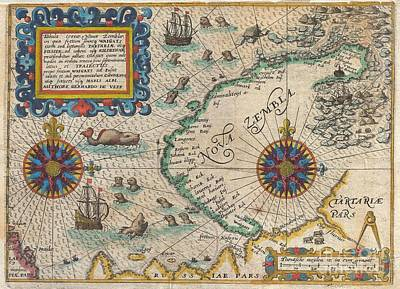 Ill-fated Photograph - 1601 De Bry And De Veer Map Of Nova Zembla And The Northeast Passage by Paul Fearn