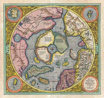 1606 Mercator Hondius Map Of The Arctic Art Print by Paul Fearn