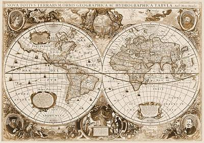 1630 Antique World Map Art Print