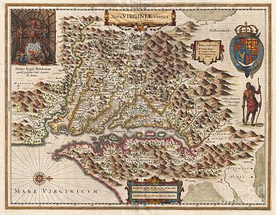 1630 Hondius Map Of Virginia And The Chesapeake Art Print