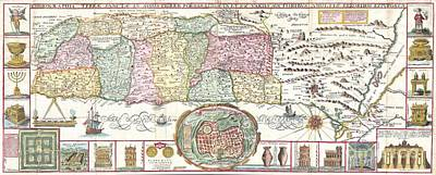 1632 Tirinus Map Of The Holy Land Art Print by Paul Fearn