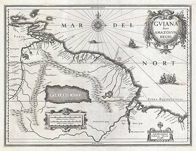 1635 Blaeu Map Guiana Venezuela And El Dorado Art Print by Paul Fearn