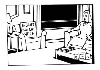 Empty Chairs Drawing - New Yorker May 22nd, 2000 by Bruce Eric Kaplan