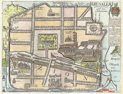 1650 Fuller Map Of Jerusalem  Art Print