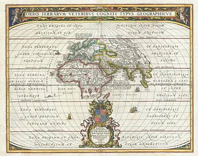 1650 Jansson Map Of The Ancient World Art Print by Paul Fearn