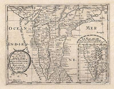 1652 Sanson Map Of India Art Print by Paul Fearn