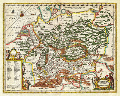 1657 Jansson Map Of Germany Germania Geographicus Germaniae Jansson 1657 Art Print by MotionAge Designs