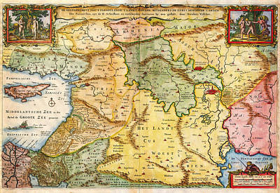 Abstract Animalia - 1657 Visscher Map of the Holy Land or the Earthly Paradise Geographicus Gelengentheyt visscher 1657 by MotionAge Designs
