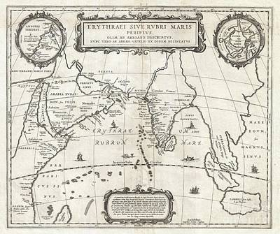 1658 Jansson Map Of The Indian Ocean Art Print by Paul Fearn