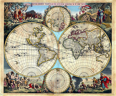 Photograph - 1670 Nova Orbis Tabula Rare World Map by Karon Melillo DeVega