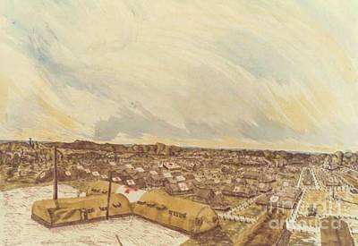 Ww Ii Drawing - 167th General Hospital Cherbourg France Ww II by David Neace