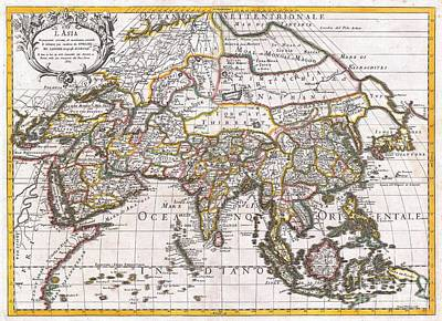 1687 Sanson  Rossi Map Of Asia Art Print by Paul Fearn