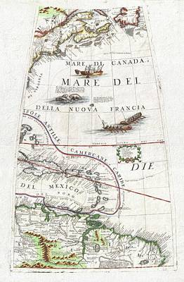 1688 Coronelli Globe Gore Map Of Ne North America The West Indies And Ne South America Art Print by Paul Fearn