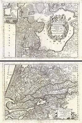1690 Coronelli Map Of Holland Or The Netherlands  Art Print by Paul Fearn