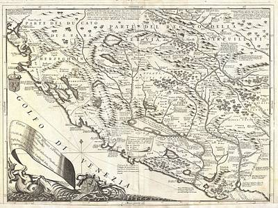 1690 Coronelli Map Of Montenegro Art Print