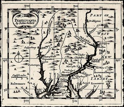 1690 Pennsylvania Map Art Print by Bill Cannon