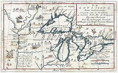 Animal Watercolors Juan Bosco - 1696 Coronelli Map of the Great Lakes Most Accurate Map of the Great Lakes in the 17th Century Geogr by MotionAge Designs