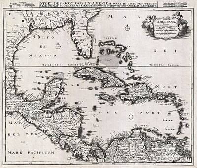 1696 Danckerts Map Of Florida The West Indies And The Caribbean Art Print by Paul Fearn