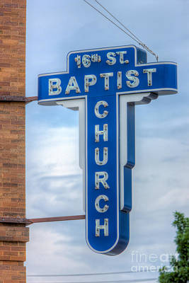 Photograph - 16th Street Baptist Church Sign I by Clarence Holmes