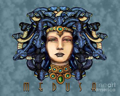 Gorgon Drawing - 16x20 Medusa 2 Blue by Dia T