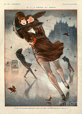 Winter Storm Drawing - 1920s France La Vie Parisienne by The Advertising Archives