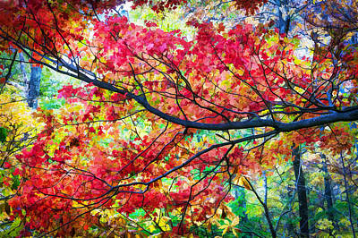 Fall Foliage Great Smoky Mountains Painted Art Print by Rich Franco