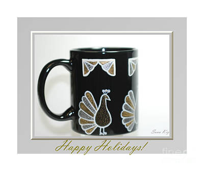 Photograph - Happy Holidays. Beautiful  Cup With Birds by Oksana Semenchenko