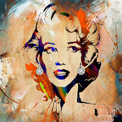 Pop Icon Mixed Media - Marilyn Monroe Diamond Earring Collection by Marvin Blaine