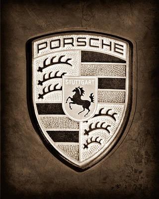 Images Of Cars Photograph - Porsche Emblem by Jill Reger