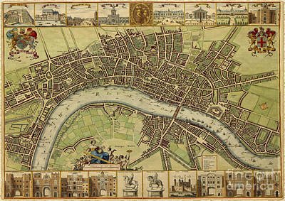 17 Th Century Map Of London England Art Print