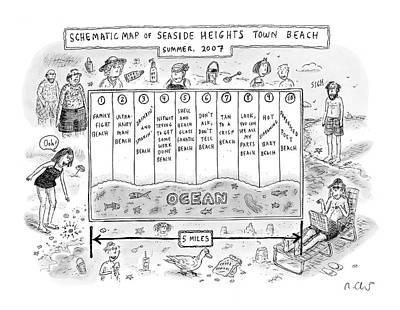 Seaside Heights Drawing - New Yorker July 30th, 2007 by Roz Chast