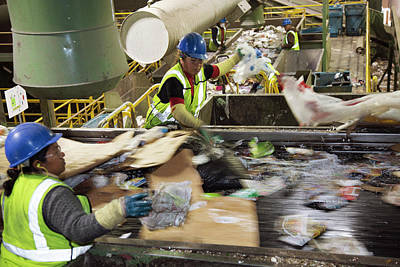 Waste Sorting At A Recycling Centre Art Print