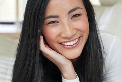 Woman Smiling Art Print by Ian Hooton