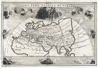1700 Cellarius Map Of Asia Europe And Africa According To Strabo Art Print by Paul Fearn
