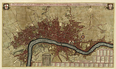 Location Mixed Media - 1700 London England Map by Dan Sproul