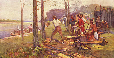 Trading Painting - 1700s 1764 Pierre Laclede Clearing Land by Vintage Images