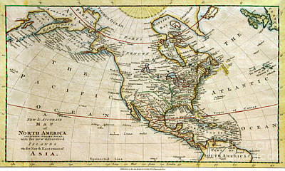 1700s Map Of North America Art Print by Maria Hunt