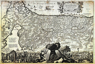 Jerusalem Painting - 1702 Visscher Stoopendaal Map Of Israel Palestine Or The Holy Land  by Celestial Images