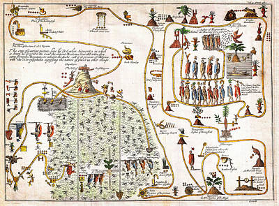 1704 Gemelli Map Of The Aztec Migration From Aztlan To Chapultapec Art Print