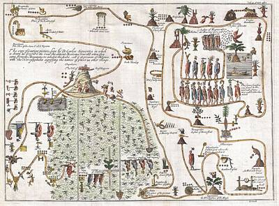 1704 Gemelli Map Of The Aztec Migration From Aztlan To Chapultapec Art Print by Paul Fearn