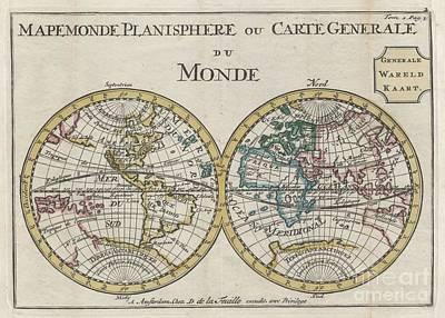 1706 De La Feuille Map Of The World On Hemisphere Projection Art Print by Paul Fearn