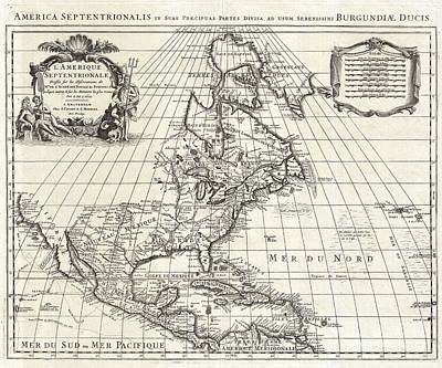 Finds A Way Photograph - 1708 De Lisle Map Of North America by Paul Fearn