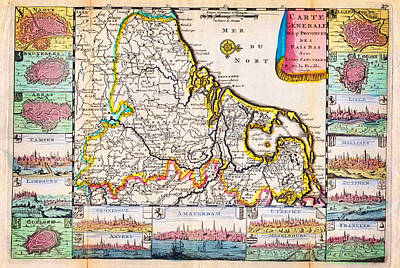 Comic Character Paintings - 1710 De La Feuille Map of the Netherlands - Belgium and Luxembourg by Celestial Images