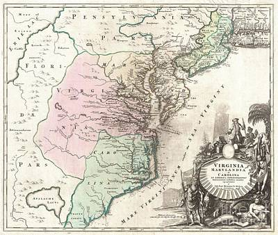 1715 Homann Map Of Carolina Virginia Maryland And New Jersey Art Print by Paul Fearn