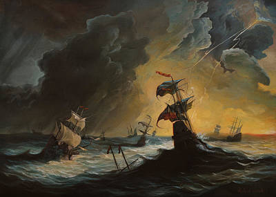 Thunder Painting - 1715 Spanish Treasure Fleet  by Anton Atanasov Art