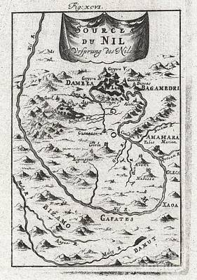 1719 Mallet Map Of The Source Of The Nile Ethiopia Art Print by Paul Fearn